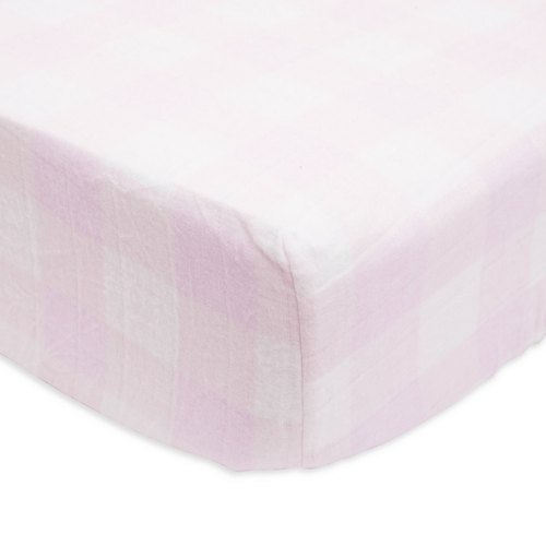 Lilac Plaid Brushed Crib Sheet - Project Nursery