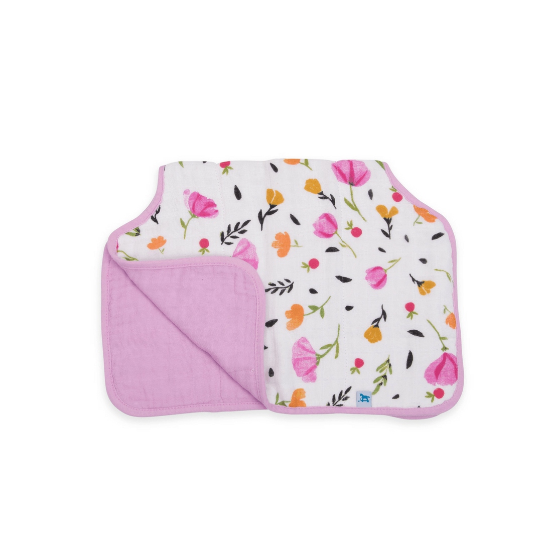 Cotton Muslin Burp Cloth in Berry and Bloom - Project Nursery