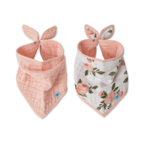 Watercolor Roses Cotton Muslin Bandana Bib Set - Project Nursery