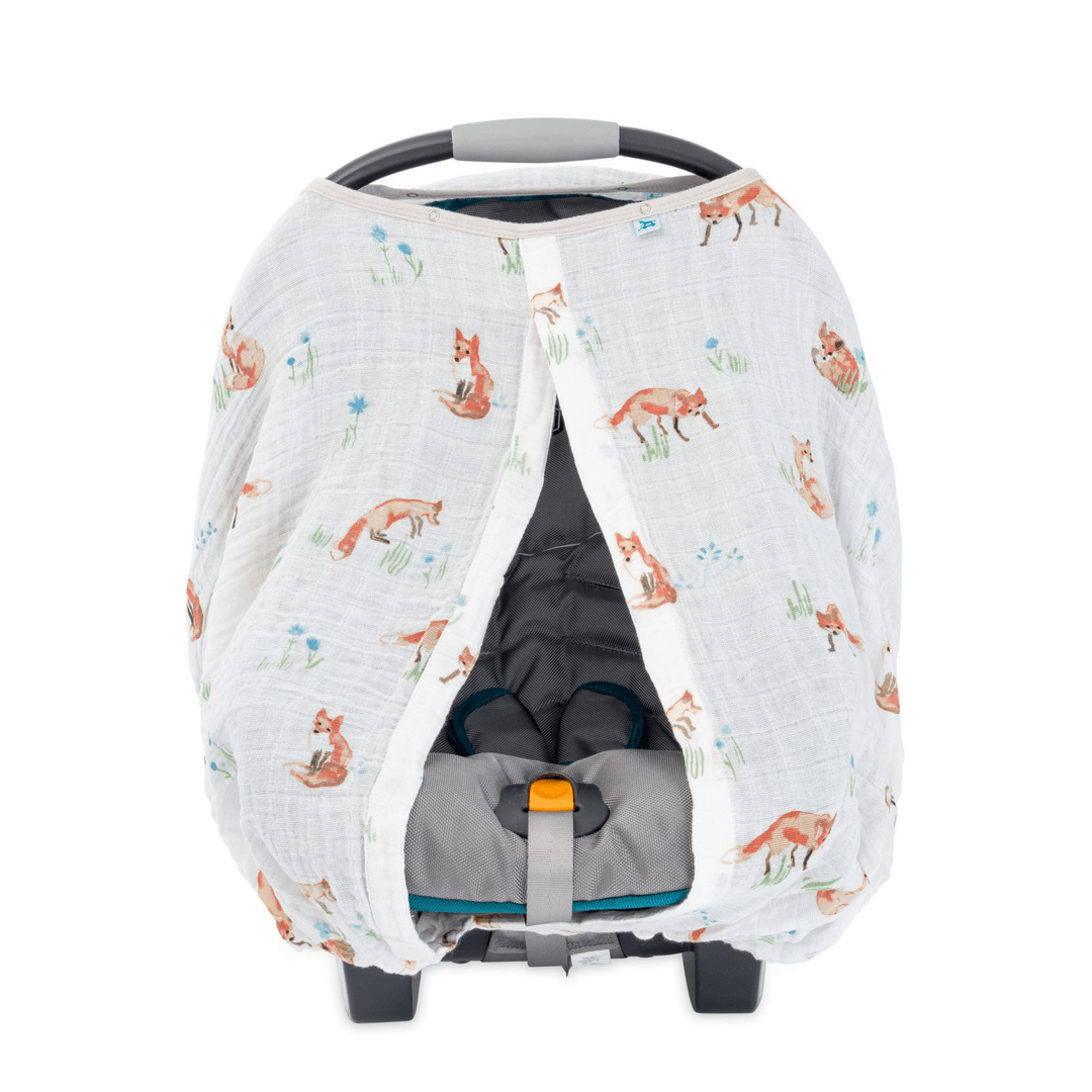 Cotton Muslin Car Seat Canopy - Fox - Project Nursery