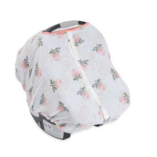 Cotton Muslin Car Seat Canopy - Watercolor Rose - Project Nursery
