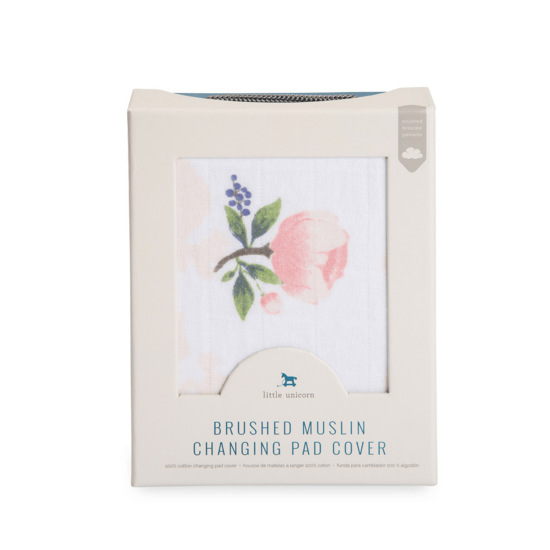 Watercolor Rose Cotton Muslin Changing Pad Cover - Project Nursery