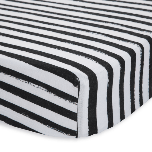 Cotton Muslin Crib Sheet in Ink Stripe - Project Nursery