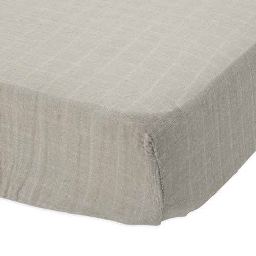 Warm Grey Cotton Muslin Crib Sheet - Project Nursery