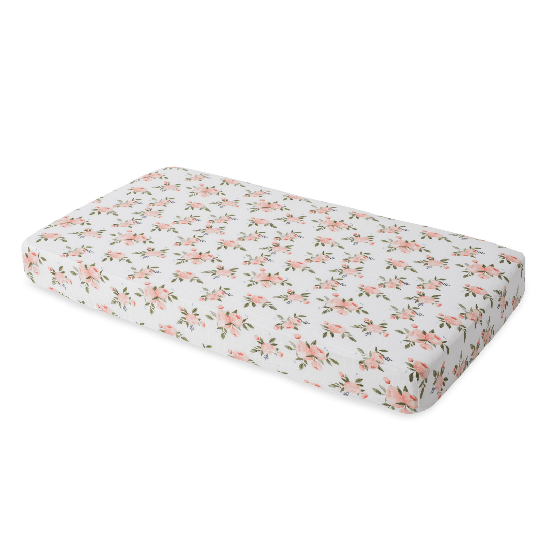 Watercolor Roses Cotton Muslin Crib Sheet - Project Nursery