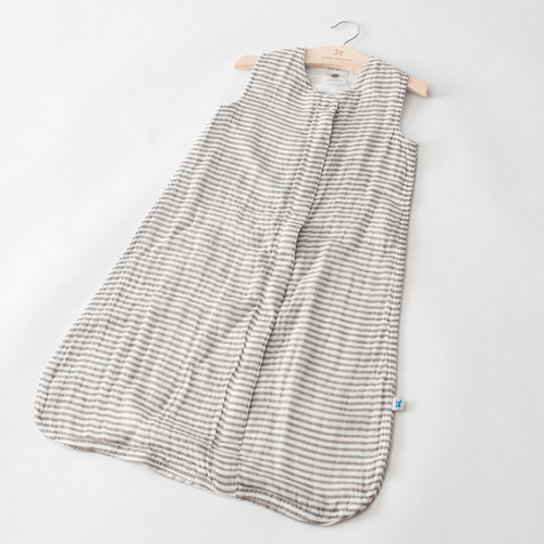 Gray Stripe Cotton Muslin Sleep Bag - Project Nursery