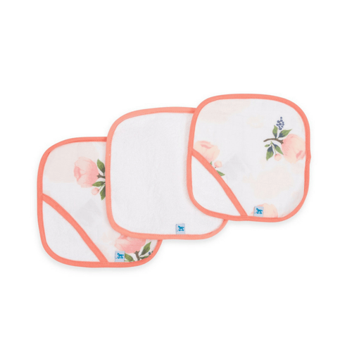 Cotton Washcloth Set - Watercolor Rose - Project Nursery