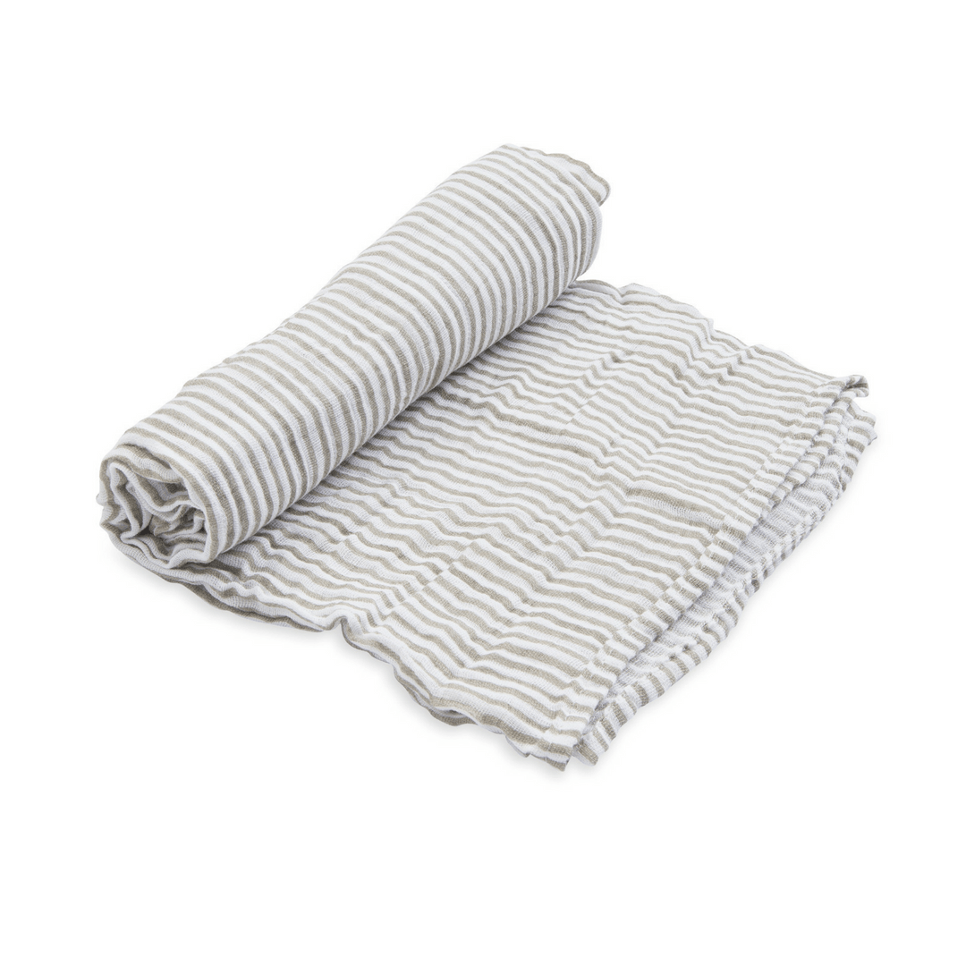 Grey Stripe Swaddle Blanket - Project Nursery