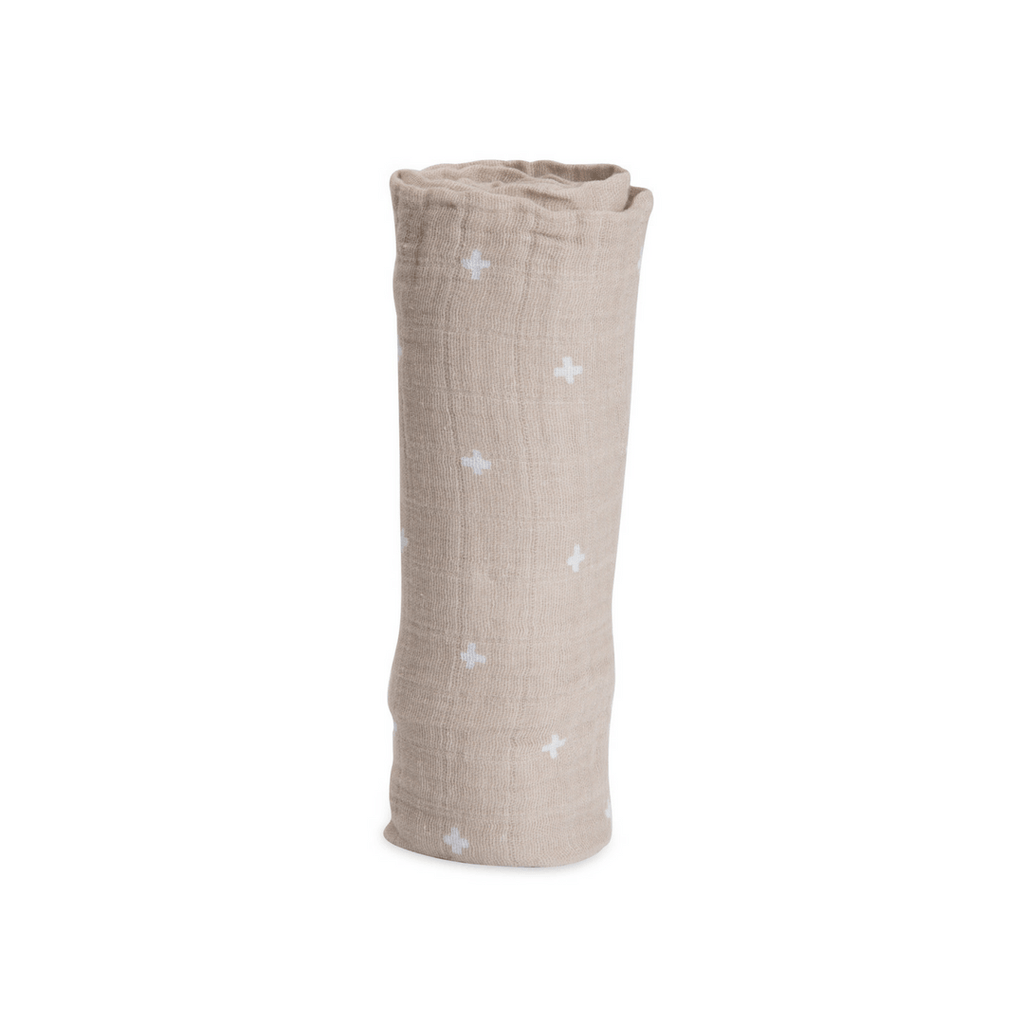 Taupe Cross Swaddle Blanket - Project Nursery