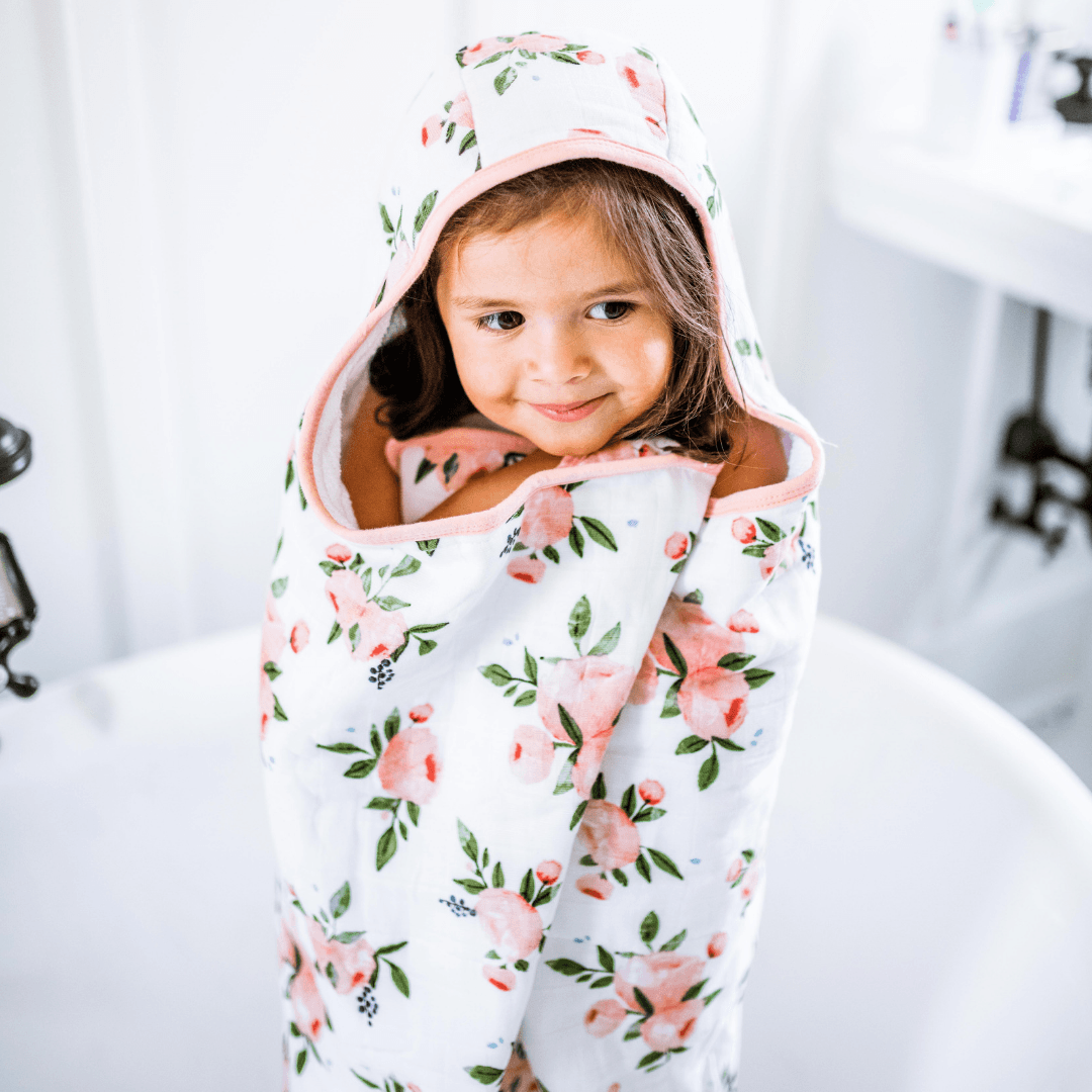 Big Kid Hooded Cotton Towel - Watercolor Roses - Project Nursery