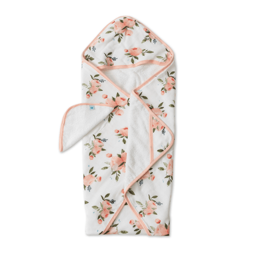 Cotton Hooded Towel & Wash Cloth - Watercolor Roses Set - Project Nursery