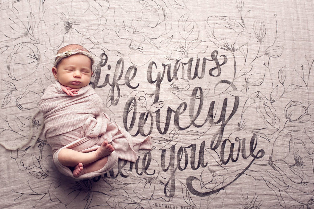 'Life Grows Lovely' Organic Swaddle Scarf  - The Project Nursery Shop - 2
