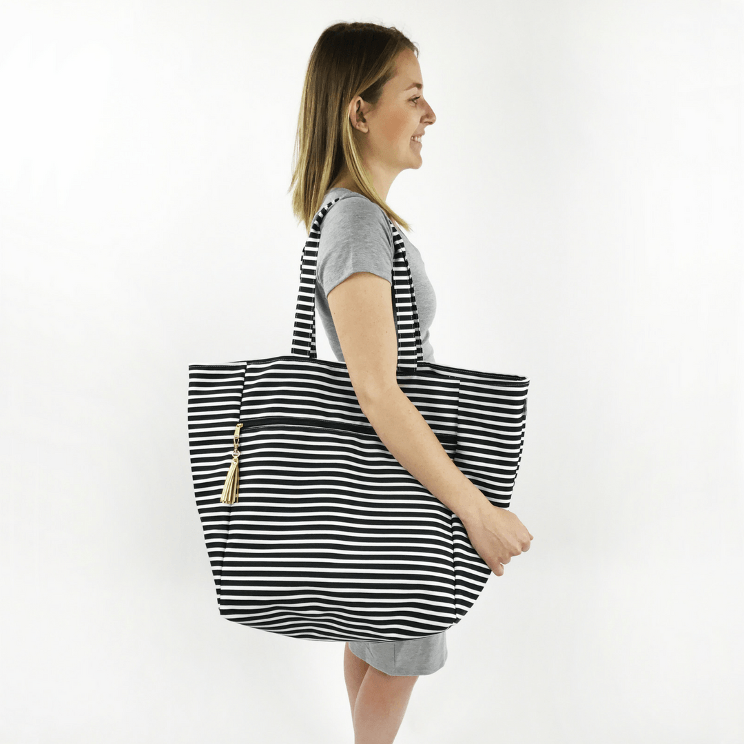 Oversized Carryall Tote in Audrey Stripe - Project Nursery