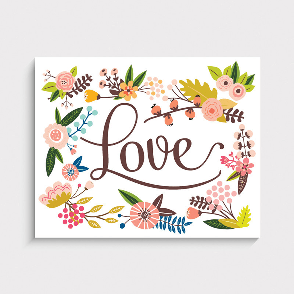 Floral Love Art Print  - The Project Nursery Shop
