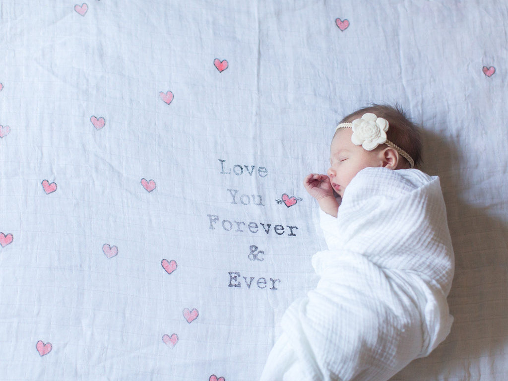 'Love You Forever and Ever' Organic Swaddle Scarf  - The Project Nursery Shop - 2