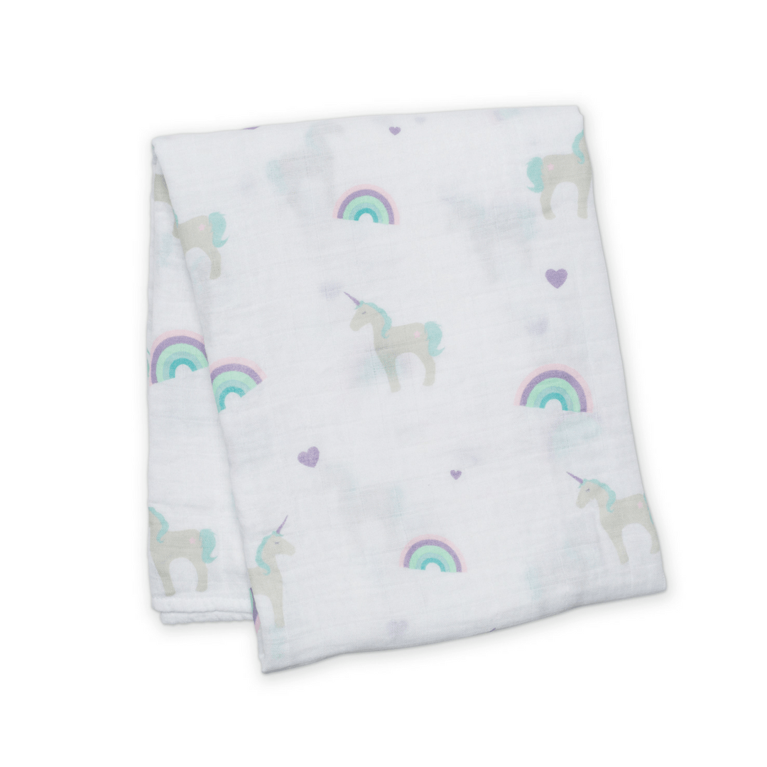 Rainbows + Unicorns Muslin Swaddle Blanket - Project Nursery