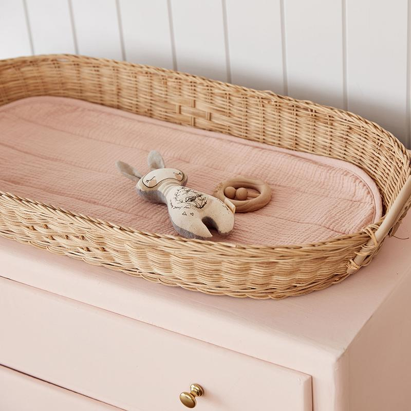 Luxe Organic Cotton Changing Basket Liner - Rose - Project Nursery