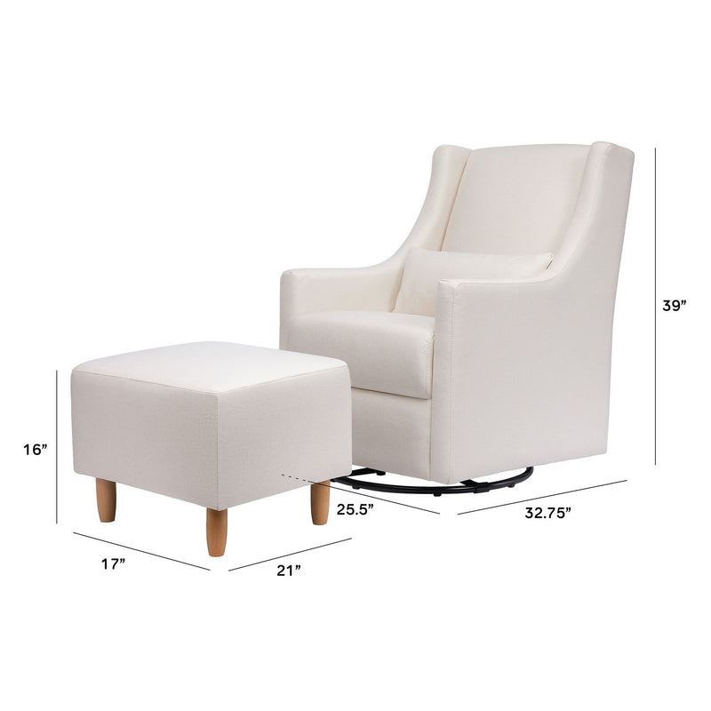 Toco Swivel Glider and Ottoman in Eco-Performance Fabric - Cream - Project Nursery