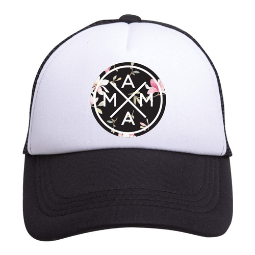 Mama Black Floral Trucker Hat - Project Nursery