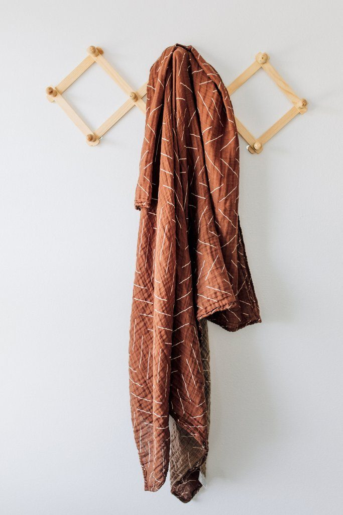 Rust Mudcloth Muslin Swaddle Blanket - Project Nursery