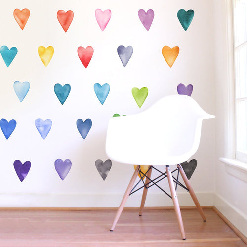 Large Rainbow Hearts Wall Decals - Project Nursery