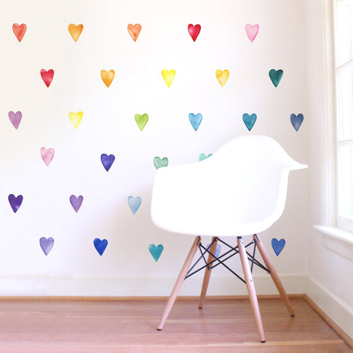 Small Watercolor Rainbow Heart Wall Decals - Project Nursery