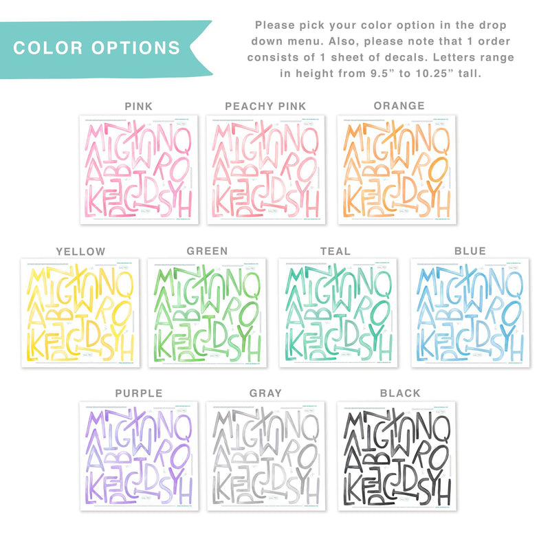 Uppercase Watercolor Letters Wall Decals - Choose Your Color - Project Nursery