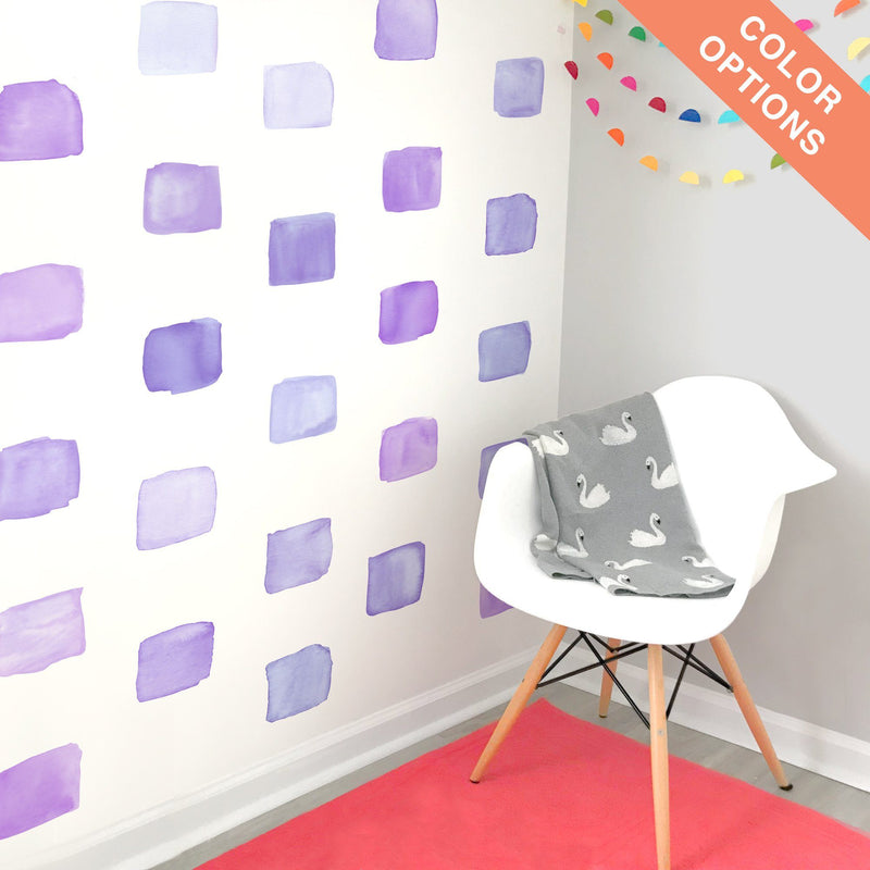 Large Watercolor Squares Wall Decals - Choose Your Color - Project Nursery