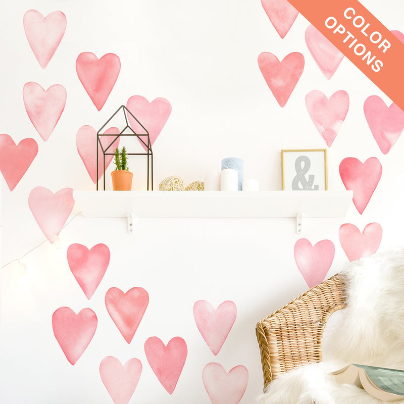 Large Watercolor Heart Wall Decals - Choose Your Color - Project Nursery