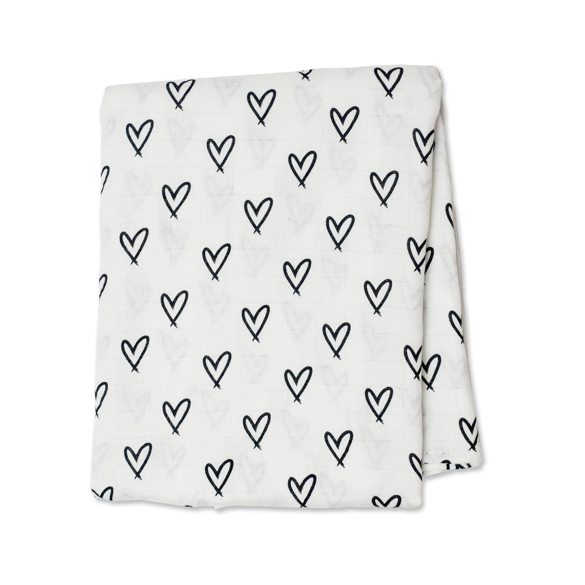 Messy Hearts Bamboo Muslin Swaddle - Project Nursery