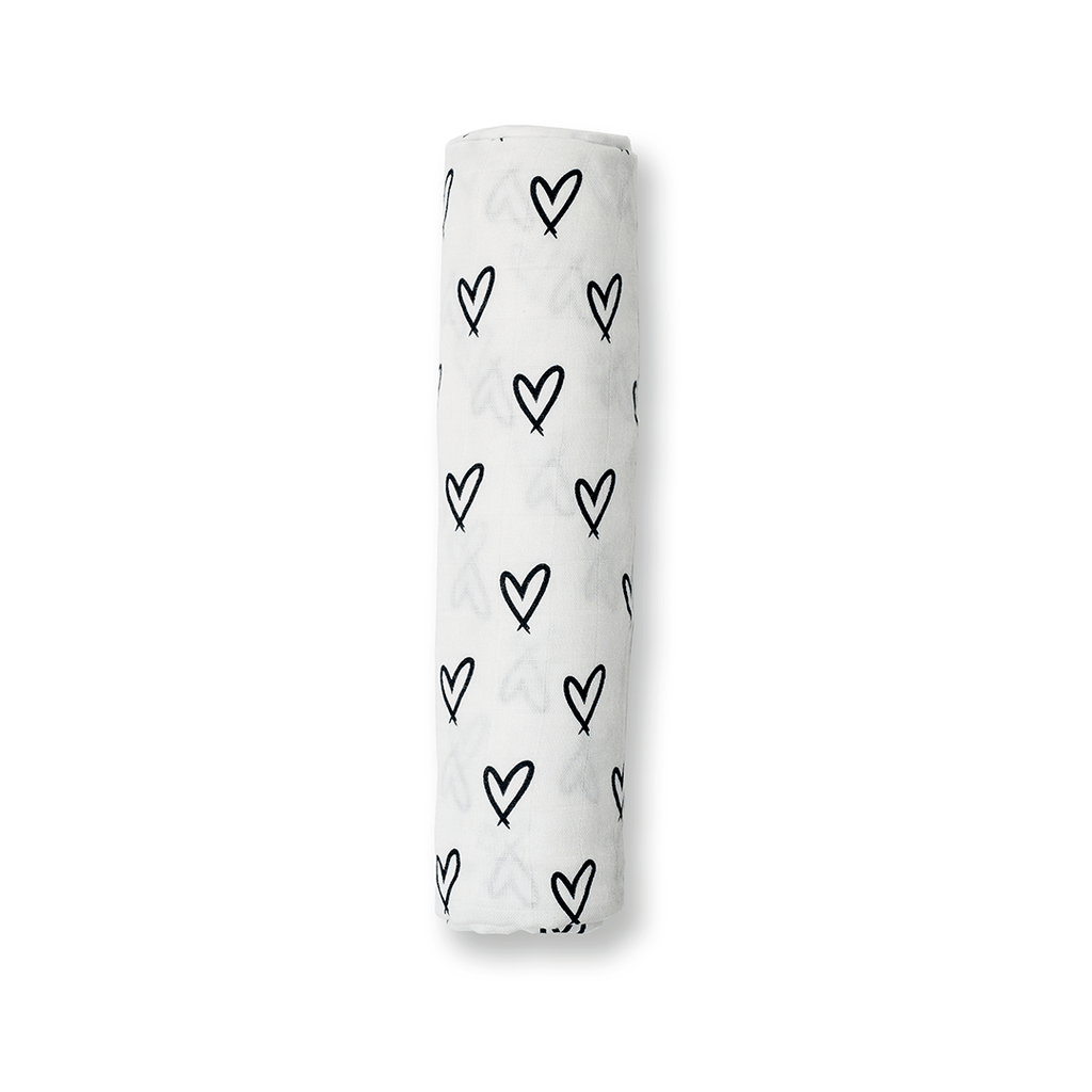Messy Hearts Bamboo Muslin Swaddle  - The Project Nursery Shop - 1