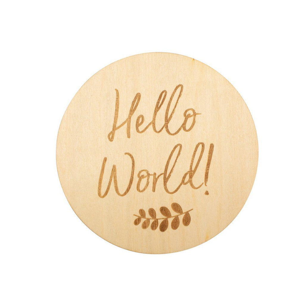 Hello World Wooden Keepsake Disc - Project Nursery