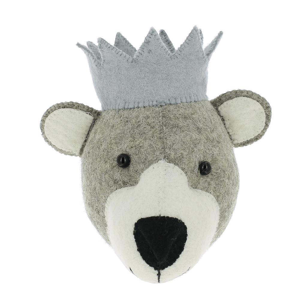 Mini Bear Head Wall Hanging with Crown - Project Nursery