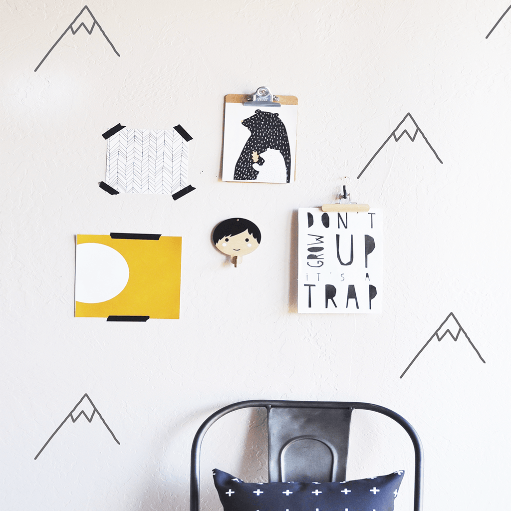 Die Cut Mountains Wall Decal Charcoal - The Project Nursery Shop - 2