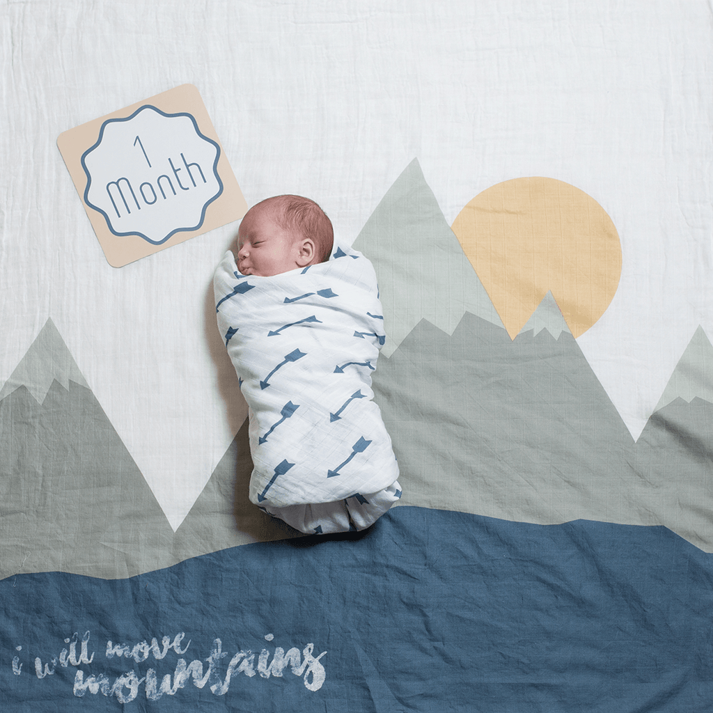 I Will Move Mountains Milestone Blanket & Card Set  - The Project Nursery Shop - 1