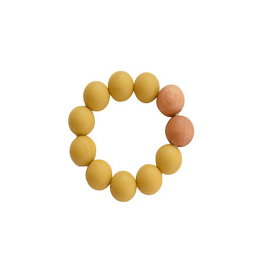 Silicone + Wood Teether Toy - Mustard