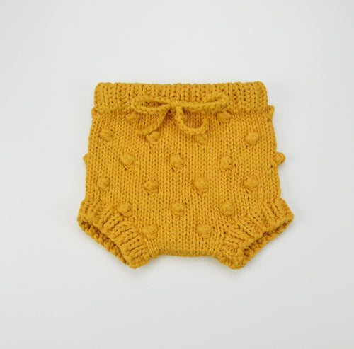 Popcorn Knitted Bloomer - Mustard - Project Nursery
