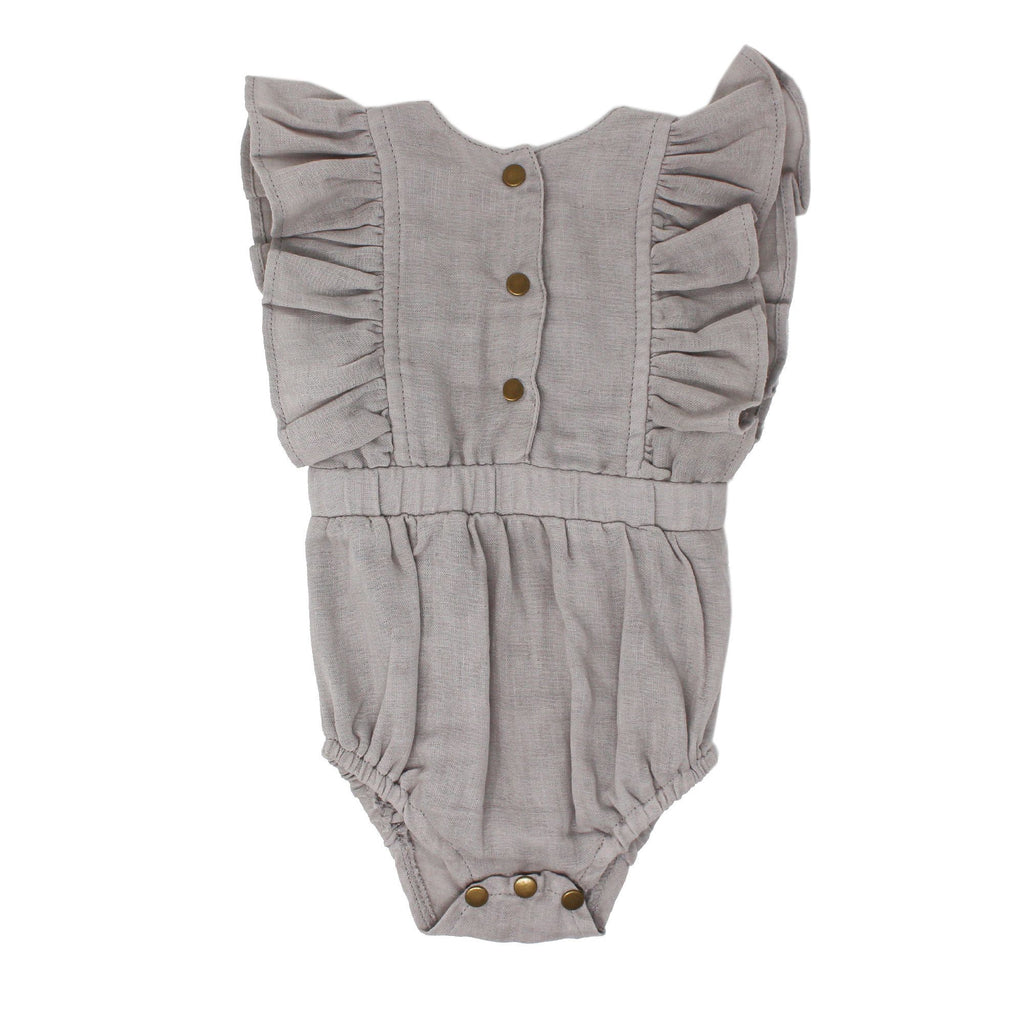 Organic Muslin Ruffle Bodysuit - Cloud - Project Nursery