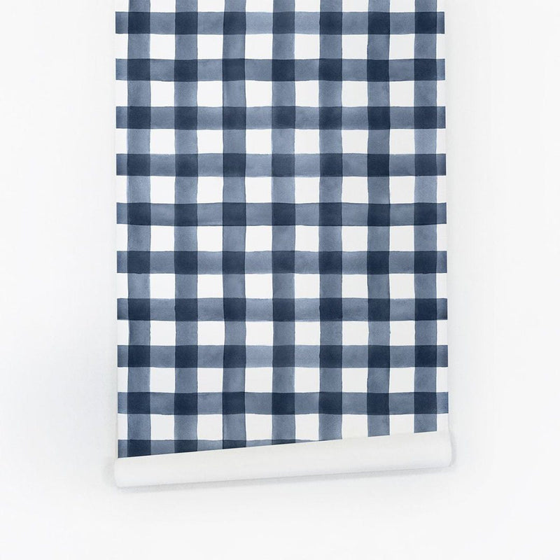 Blue Watercolor Gingham Wallpaper - Project Nursery