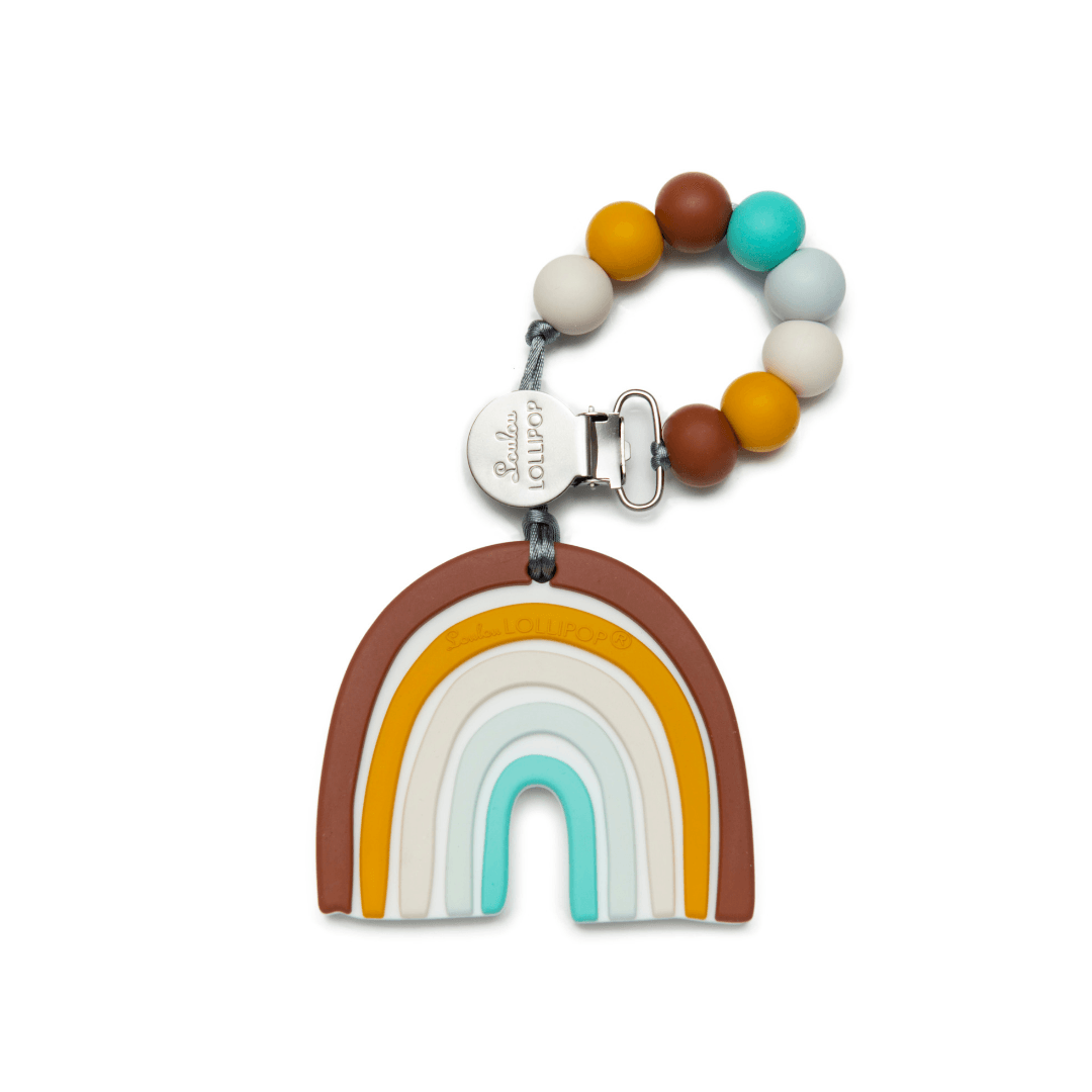 Neutral Rainbow Silicone Teether with Clip - Project Nursery