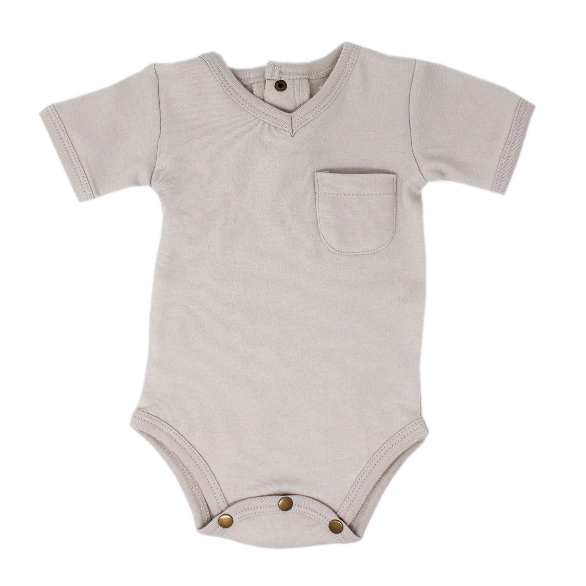 Organic Solid V-Neck Bodysuit - Light Gray - Project Nursery