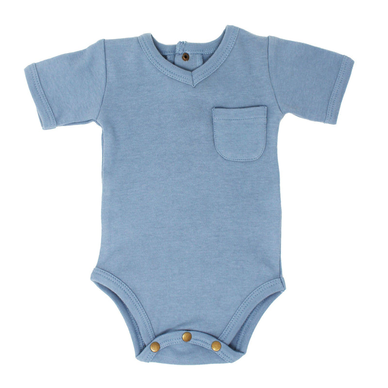Organic Solid V-Neck Bodysuit - Pool Blue - Project Nursery