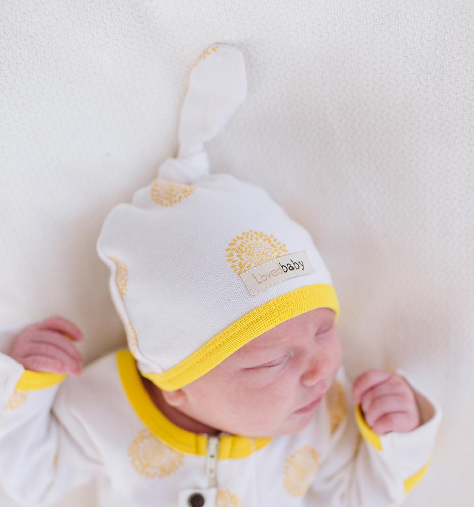 Organic Top-Knot Hat - Yellow Sunflower - Project Nursery