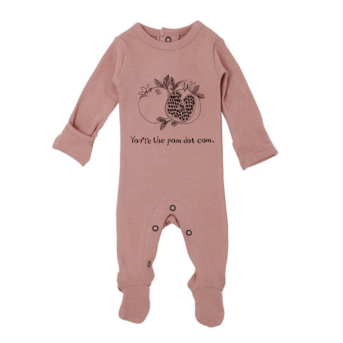 Organic Graphic Footie in Mauve Pomegranate - Project Nursery