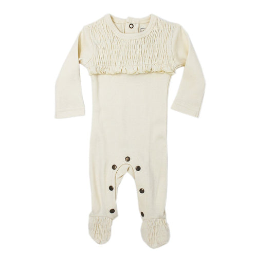 Organic Smocked Overall in Beige - Project Nursery