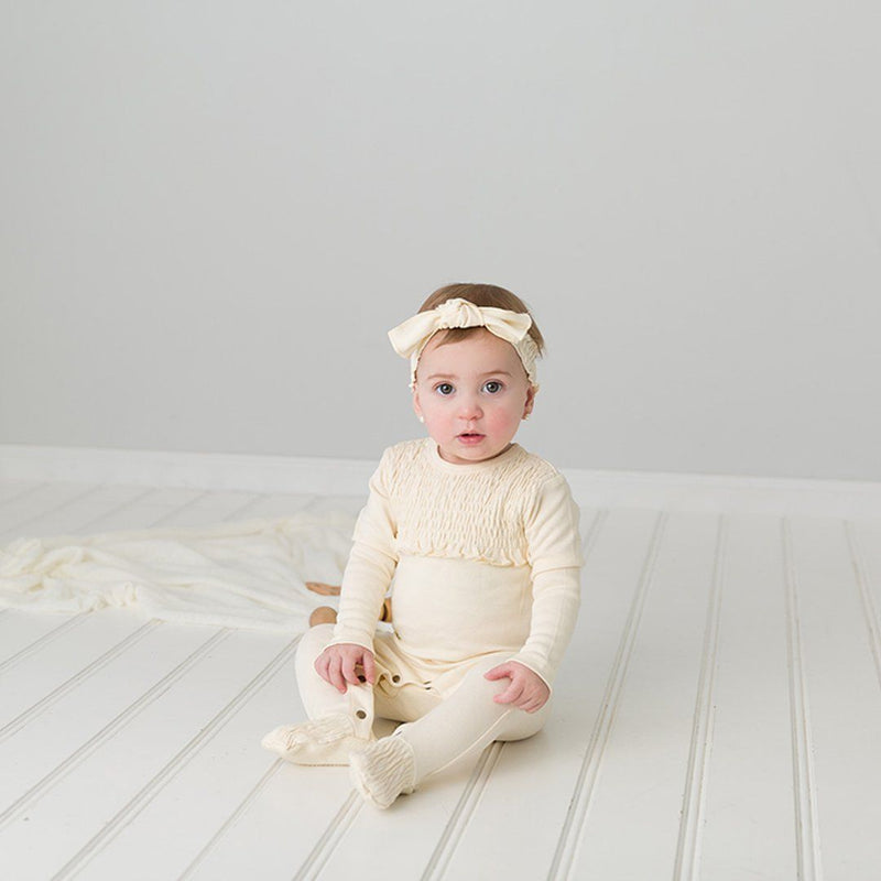 Organic Smocked Overall - Beige - Project Nursery