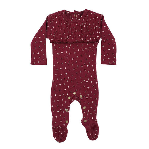 Organic Smocked Overall in Cranberry Dots - Project Nursery