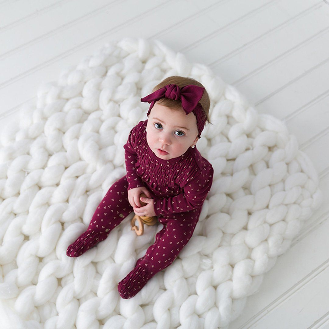 Organic Smocked Overall - Cranberry Dots - Project Nursery