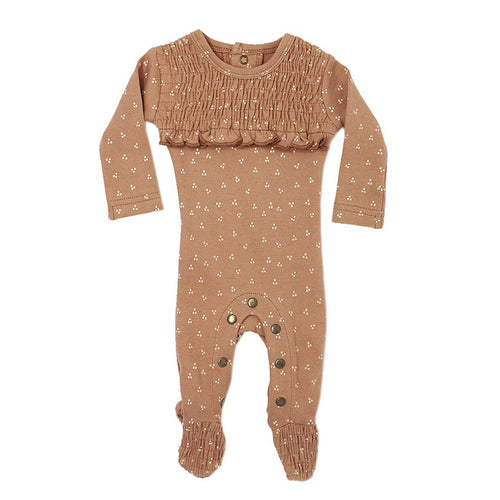 Organic Smocked Overall in Nutmeg Dots - Project Nursery