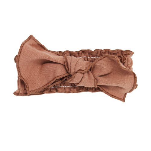 Organic Smocked Tie Headband - Nutmeg - Project Nursery
